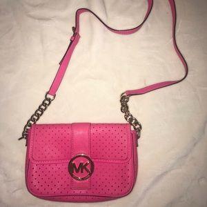 Neon pink mini Michael Kors crossbody